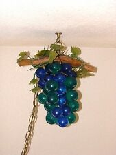 1960's Vintage Lucite Arcrylic Large Cluster Grapes Retro Hanging Lamp Light