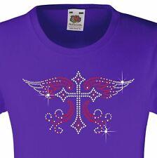 """GIRL's T-Shirt (12 COLORI Opzioni) con strass """"Croce con Ali"""" 3-15 anni"""