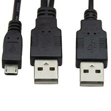 USB 2.0 two Male to Micro USB 5P Male Y Cable 80cm for external Hard Disk Drive