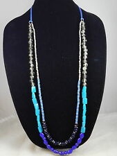 Kenneth Cole Silvertone Mixed Blue Beaded Cord Long Multi Strand Necklace $48