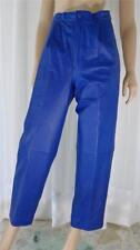 NEW NANNEL ROYAL BLUE LEATHER  PANTS TROUSERS SLACKS WITH SIDE POCKETS SZ 10