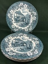 "Royal Tudor Ware Coaching Taverns 4 Dinner Plates 10"" Blue"