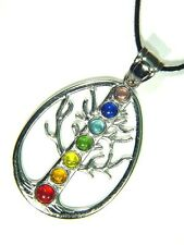 BUTW Pewter Tree of Life  Amulet Chakra Crystal Accents Pendant Necklace 3374D