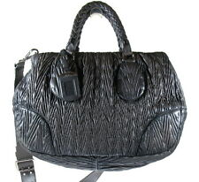 PRADA NAPPA LEATHER TEXTURED SHOULDER BAG, ITALY