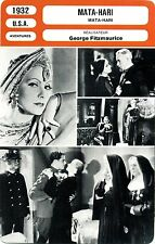 Movie Card. Fiche Cinéma. Mata-Hari (U.S.A.) George Fitzmaurice 1932