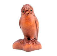 Boxwood Hand Carved Netsuke Sculpture Miniature Standing Owl Night Eagle #090915