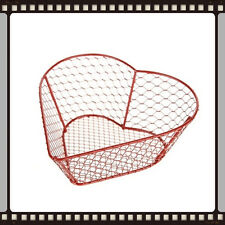 Lovely Rustic Red Heart Wire Storage Basket Cute!