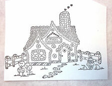 Unmounted Gingerbread house rubber stamp candy canes fence candies hearts sweets