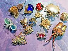 14 Vintage Mixed Insect Lady Bug Fly Beetle Spider Bee Brooch Pin LOT Figural
