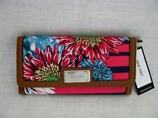NINE WEST *IT GIRL*  ETCHED NAVY FLORAL TRIFOLD CHECKBOOK WALLET *NWT*