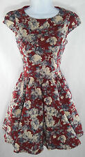 GRACIA Cap Sleeve RED VINTAGE style Floral Print Skater/Doll Cocktail Dress M
