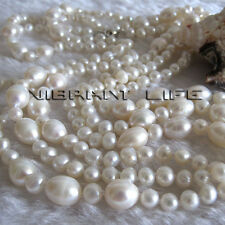 "60"" 4-9mm White Freshwater Pearl Necklace Off Round Rice Fashion Jewelry UK"