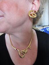 Parure rétro, vintage, collier + boucles d'oreille - SERPENT doré et strass