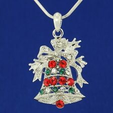 Christmas Bell Bow W Swarovski Crystal Pendant Necklace Chain Jewelry Gift