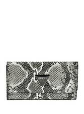 NEW GUESS ABREE BLACK+WHITE PYTHON EMBOSSED FAUX LEATHER,FLAP WALLET,CLUTCH