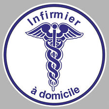 INFIRMIER A DOMICILE CADUCEE 100mm AUTOCOLLANT STICKER (IA063)