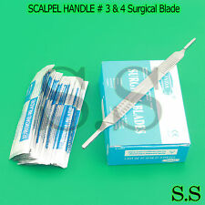 1 SCALPEL KNIFE HANDLE # 3 & 4 + 100 Pcs STERILE SURGICAL BLADE #10 #11 #20 #21