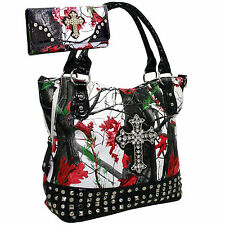 Red_White Mossy Style Camo Cross Embellished_Fashlets Western Purse & Wallet