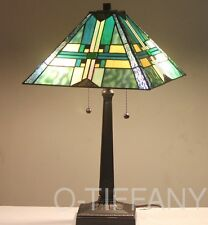 "Tiffany Style Stained Glass Mission Lamp ""Stratmore"" w/ Metal Base & Autumn Card"