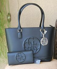 NWT GUESS KORRY Tote Satchel Handbag Purse & Wallet Set Color Black