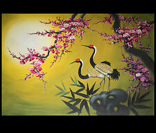 Landscape Wall Art Birds Crane Asian Feng Shui Artwork Stretched Canvas Prints