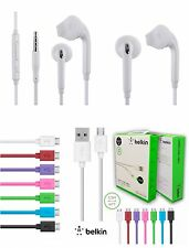 Combo Samsung In Ear Stereo Earphones Handsfree + OEM Belkin USB Cable Charge V8