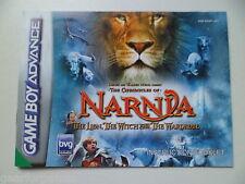 NINTENDO GAMEBOY ADVANCE Narnia il leone strega e il manuale Guardaroba