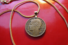 """1932 French Art Deco Antique Deux Franc Coin Pendant on an 28"""" Gold Filled Chain"""