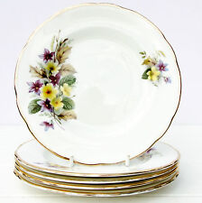 Vintage Bone China Set 5 Tea Plates Purple Yellow Floral