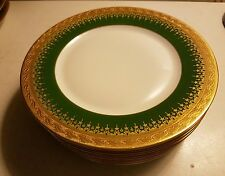Haviland Limoges Incrustation Double dorure gold and green salad side plates 7