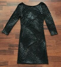 BNWT NEW LOOK BLACK SILVER GLITTER  LOW BACK STRETCH BODYCON DRESS SIZE 10 EU 38