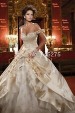 Beaded Embroidery Roses Champagne Luxury  Wedding Dress. Bridal Gown.
