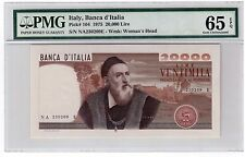 "Italy 20000 Lire Note 1975 Pick# 104 PMG GEM UNC 65 EPQ ""Piece of Art"" Scarce"