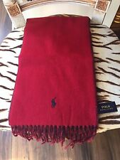 NEW RALPH LAUREN REVERSIBLE RED & BLUE SCARF WITH POLO HORSE  R.R.P. $58.00