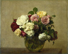 Oil painting Henri Fantin Latour - Fine roses flowers in glass vase canvas