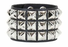 Pyramid Stud 3 Row Bracelet  Punk Rockers Gothic Kids British Glam Style