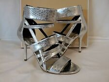 Michael Kors 8 M Shiloh Silver Leather Open Toe Heels New Womens Shoes