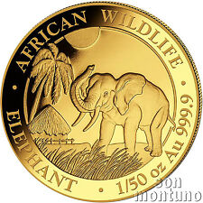 2017 SOMALIA GOLD ELEPHANT - 1/50 oz 24k Coin in Capsule African Wildlife .9999