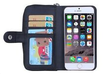 Brand New Apple i phone 6 Plus Hard Case Wallet Zip Coin Purse Wrist Strap Black