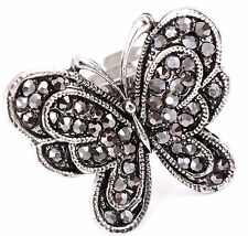 Womens Ladies Silver Adjustable Metamorphosis Marcasite Crystal Butterfly Ring