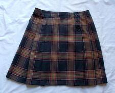 J Crew Brown gray Plaid Pleats 100% Wool Skirt Sz 12
