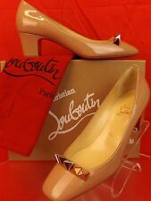 NIB LOUBOUTIN PYRAMIDAME 45 NUDE PATENT LEATHER GOLD SPIKES PUMPS 40 $695