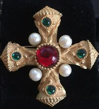 Vintage Gerard Yosca Signed Maltese Cross Brooch Pin Big Gold Red Green Pearl