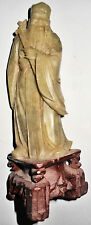 Chinese Jade Jadeite Man in Robes, Carrying Scepter? Quiver Type Item on Back