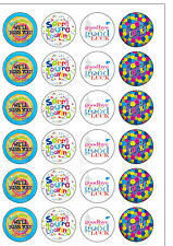 24 PreCut Sorry You Are Leaving Goodbye Edible Wafer Paper Cupcake Toppers