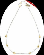 "Gems en Vogue 20"" Two-Tone Station Necklace, Sterling Silver 925 with 18K Clad"