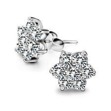 Cute Snowflake Crystal Ear Studs CZ Earrings Women's 925 Sterling Silver Jewelry