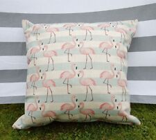 Flamingo Cushion Cover. Striped, Cotton Canvas, Designer, Pink, Blue, Natural