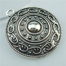 14087 5PCS Antique Tibetan Silver Tone Large Round Flower Totem Pendant