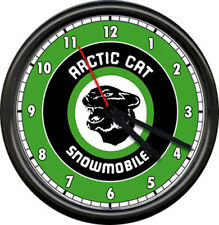 Arctic Cat Snowmobile Racing Green Retro Vintage Dealer Sign Wall Clock